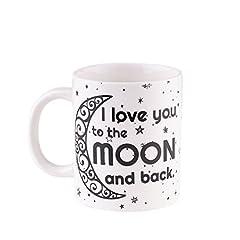 Idea Regalo - Tazza I love you to the moon and back - Regalo avvolto con nastro rosso - Regalo ideale per San Valentino