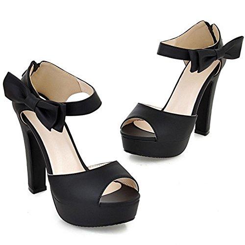 COOLCEPT Femmes Mode Cheville Sandales Peep Toe Conique Talon hauts Chaussures With Fermeture eclair Noir