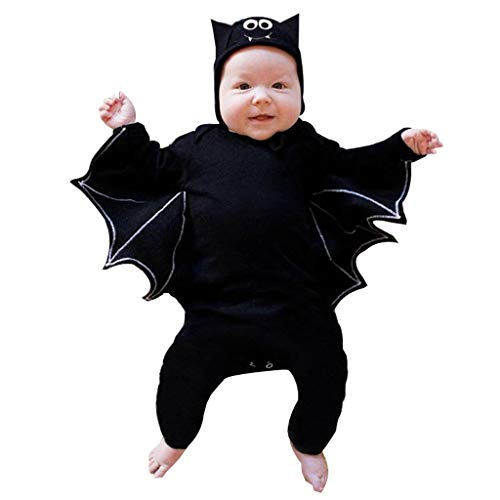 Bat Kostüm Kleinkind - Writtian Neugeborenes Kleinkind bat Jumpsuit Kinder Halloween Kostüm Motiv Baby Overalls | Jungen Mädchen Neugeborenes Strampler Toddler Halloween Langarm Bodysuit