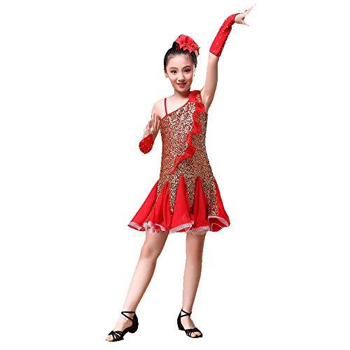 Kleines Mädchen Prinzessin Kleid Kinder Mädchen Latin Dance Kleid Rumba Samba Ballsaal Dancewear Performance Wettbewerb Tanzkostüm Kleid Outfit mit Handschuhen Kopfschmuck ( Farbe : Rot , Größe : M ()