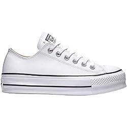 Converse Chuck Taylor CTAS Lift Clean Ox, Sneakers Basses Femme, Blanc (White/Black/White 102), 39 EU