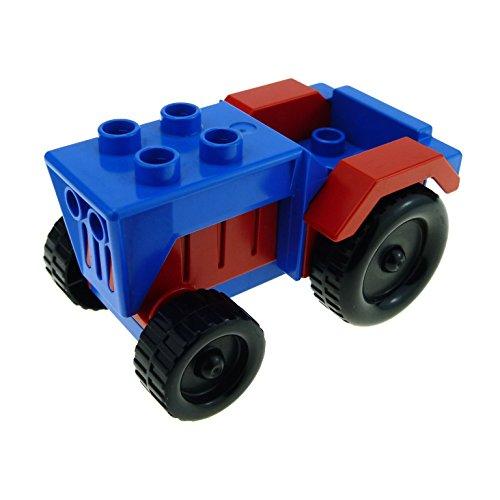 Bausteine gebraucht 1 x Lego Duplo Fahrzeug Traktor blau rot Auto Bauernhof Tier Hof Set 2629 klein Tractor