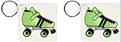 3dRose Skating Gifts - Green and Black Roller Skate - Key Chains, 2.25 x 4.5 inches, set of 2 (kc_35468_1)