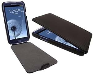 FoneM8® - SAMSUNG GALAXY S3 SIII CARBON FIBRE EFFECT FLIP CASE COVER - BLACK