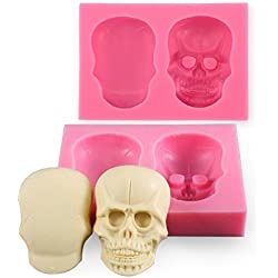 CLE DE TOUS - Molde repostería Silicona 3D cráneo para Decoración tarta Pasteles Fondant chocolates pasta de azucar jabón arcilla velas