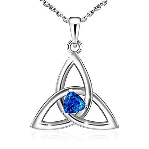 ADAN BANFI 925Sterling Silber Irish Viel Glück Anhänger Keltischer Knoten Herz Vintage Charm Halskette Schmuck mit Cubic Zirkonia