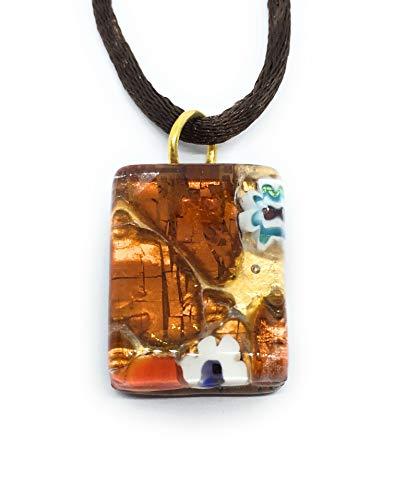 Joyas de Cristal de Murano, Colgante de Cristal de Murano con Hoja de Oro, Delicado 2 cm x 1,5 cm, Incluye Caja de Regalo y Certificado de autenticidad (Pixie)
