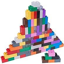 Set n.° 1 de ladrillos Big Briks para construir - 84 piezas - Compatible con todas las grandes marcas - Tacos grandes - Negro, azul, marrón, transparente, gris, verde y otros