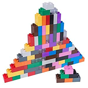 Premium Big Briks 12 Color Rainbow Basic Builder Set #1 - 84 Pack - Compatible with All Major Large Size Brands – Large Pegs Only