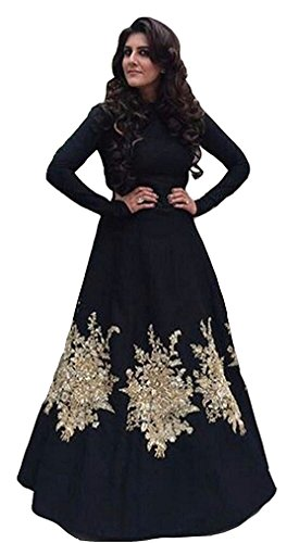 I-Brand Black Color Tapeta Silk Fabric Embroidery Patch Work Gown (I-Brand kurta...
