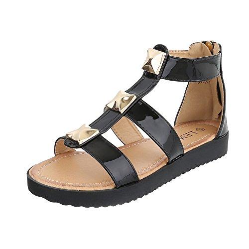 Riemchensandalen Damenschuhe Knöchelriemchen Riemchen Reißverschluss Ital-Design Sandalen / Sandaletten Schwarz