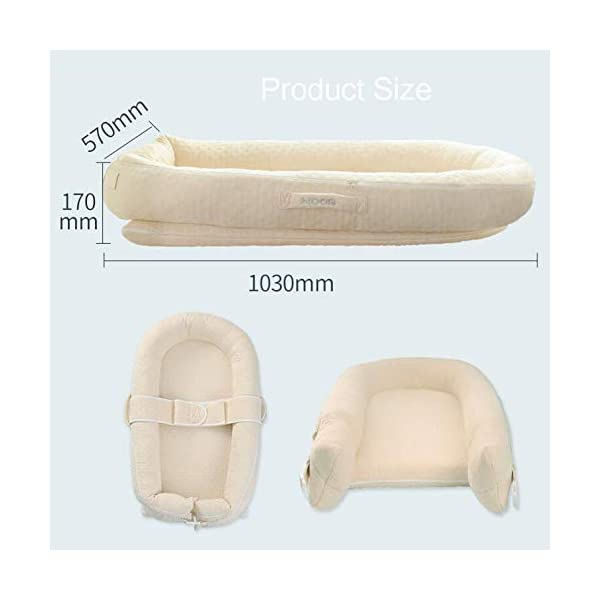 YANGGUANGBAOBEI The All In One Baby Lounger - Baby Sleep Aid Breathable Lounger Cotton Waffle Handmade Reducer YANGGUANGBAOBEI [Portable]: The lightweight design makes the baby lounger easy as a bassinet for a bed, or travel bed. Makes baby feel more secure and cozy. [Breathable Material]: Made of 100% cotton fabric and high quality 3D polymer material filler. Safe to baby's sensitive skin. It can give your baby safe and just like sleeping in the mother's arms, enjoying more deep sleep. [Creative Design]: The baby lounger simulates the bionic design of the uterus, like sleeping in the mother's arms, enjoying more deep sleep, and reducing the frequency of putting kids go to bed. 6