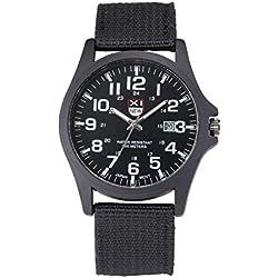 Herren Sport Armbanduhr, Zolimx Datum Edelstahl Militär Analog Quarz Armee Uhren (Schwarz)