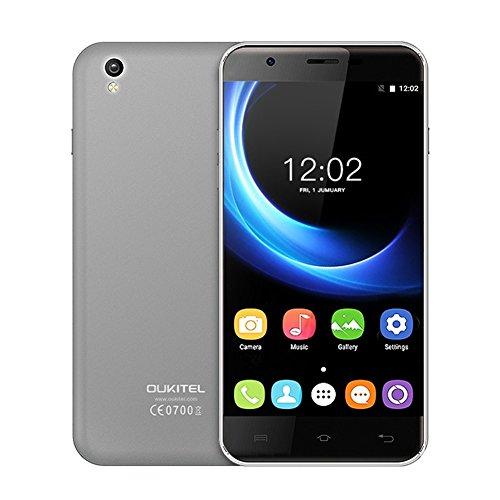 Smartphone OUKITEL U7 MAX Handy ohne Vertrag - 5.5 Zoll 3G Android 6.0, Dual SIM, 8GB ROM 1GB RAM, Quad Core 1.3GHz, Dual Intelligente Kamera 2MP + 8MP, 2500mAh Grau