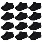 12 Paar Sneaker Socken für Kinder und Teenager in schwarz