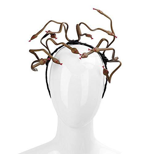 WanTo Halloween Karneval Burning Man Cosplay Kostüm Haarspange Zubehör Tier Stirnband PVC Scary Medusa Snake Stirnband, schwarz (Mens Scary Halloween-kostüme)