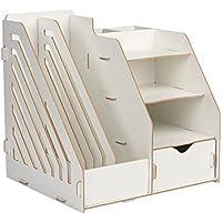 HomJoy - Organizador de escritorio de madera, mueble de almacenamiento de material de oficina con 2 secciones de archivador de tamaño A4, 5 compartimentos y 1 cajón, color blanco crema 30 x 26 x 30 cm