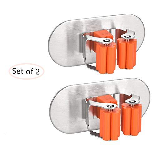 3M Colgador y Organizador de pared Fregona 304 acero inoxidable Adhesivos, moonlux 2pcs de la fregona y escoba soporte pared montan en estante del almacenaje del jardín