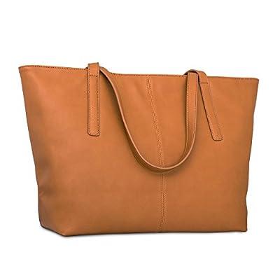 Sac à main fourre-tout marron cuir végétalien Expatrié pour femmes - Sac à main en cuir artificiel haute qualité - Grand sac à bandoulière pour femmes avec compartiments & fermeture éclaire