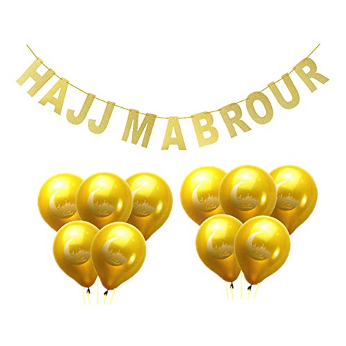 TLfyajJ HAJJ MABROUR Banner Eid Mubarak Luftballons Glitter Ramadan Festival Decor 11 Stücke 1# (Antike Weiße Fondant)