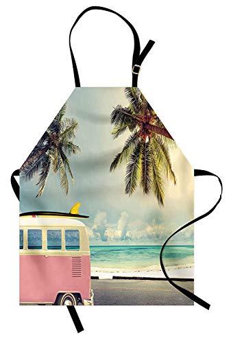 Surf-Schürze, Minivan am Strand Retro inspiriert Urlaub Wolken im Sommerhimmel Flitterwochen Ziel, Unisex-Küche Latzschürze mit verstellbarem Hals zum Kochen Backen Gartenarbeit, ()