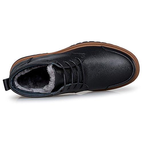 Shenn Herren Knöchel Fell Lined Verschleißfestigkeit Mode Vollnarbigem Leder Motorbike Stiefel Schwarz