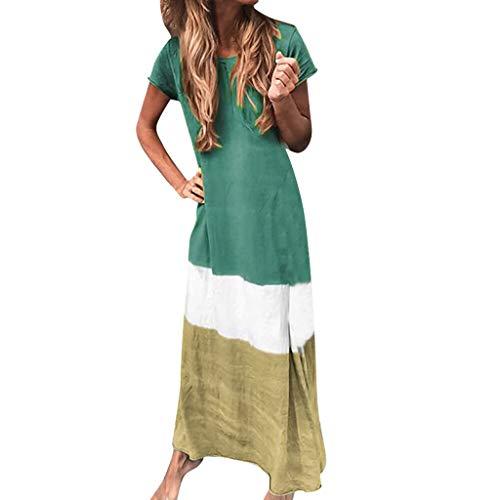 Wawer, Mode Femmes Casual Loose Patchwork Couleur O-Cou À Manches Courtes Longue Robe Dame éTé Plage Vacances Robe Confortable Robe De SoiréE Loisirs Robe Quotidienne Plus La Taille (S-3XL)