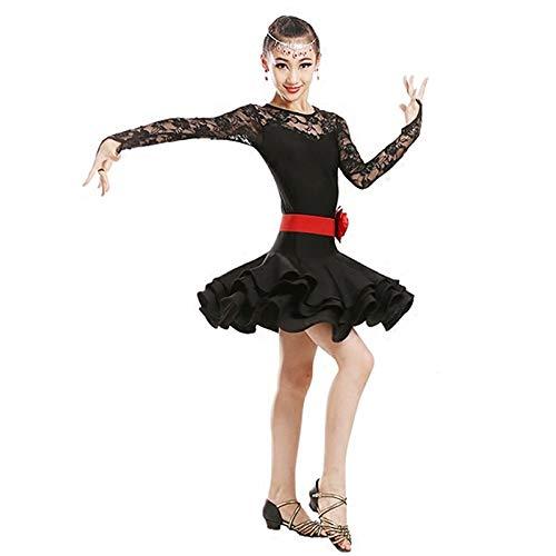 Tanzkostüm - Latin Dance Kostüm 3 Farbe Bühne Leistung Wettbewerb Tanzkostüm Mädchen Latin Wettbewerb Kostüm Lombard Samba Tanzkostüm Ballroom Dance Kostüm ( Farbe : Schwarz , größe : 130cm ) (Ballroom Samba Kostüme)