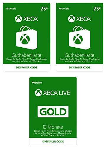 Xbox Live Starter Kit mit €50 EUR Guthaben und 12 Monate Gold-Mitgliedschaft [Xbox Live Online Code]