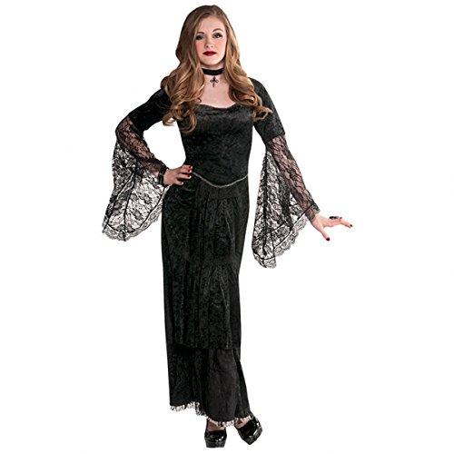 Vampir Kostüme Halloween Gothic (Gothic Kleid Gr. 140 Kostüm Halloween Mädchen schwarz)