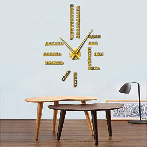 Knncch 27Inch Or Langue Étrangère Bricolage Géant Horloge Murale Grand Russe Numéros Soviétiques Grande Horloge Montre Chambre De Bébé Décoration Préscolaire Russe Montre
