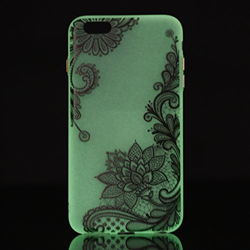 Felfy Coque Pour iPhone 6 Plus,iPhone 6S Plus Silicone Case Cover Ultra Mince Slim Silicone élégant Gel Translucide TPU Souple Motif Design Noctilucent TPU Case Slim Fit Protection Case Coque Bumper C Flower Lace Case