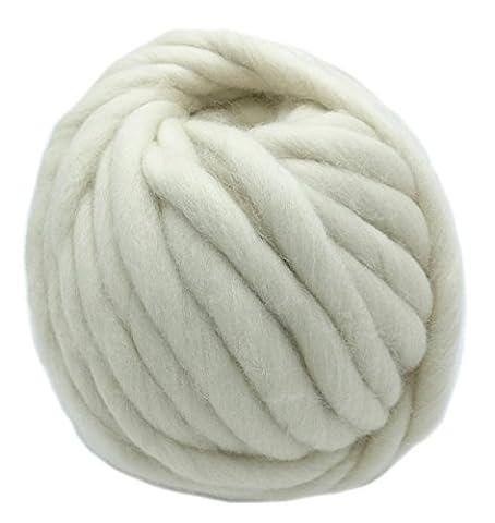 floraknit 500g Merino Wolle Super Chunky klobigen Roving Garn für Arm Knit cremefarben