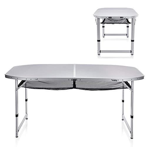 XXL Alu Campingtisch 150x80cm, EXTRA großer stabiler Koffertisch bis 6 Personen, robustes + höhenverstellbares ALU-Gestell, XXL-Tischplatte mit große Netzablage