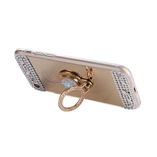 für iphone 7 Plus Hülle Silikon Spiegel,SKYXD mit Glitzer Strass Weiche Dünn Schlank Schutzhülle mit [Handyanhänger + Eingabestifte] Rutschfest Gummi Gel Stoßfest Handyhülle für iphone 7 Plus Case Sof Ring-Golden