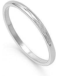 Boolavard® TM 2mm acier inoxydable Prime Comfort Fit unisexe Wedding Anneaux de tailles bande, 17, 18, 19, 20, 21, 22m/Boîte Cadeau