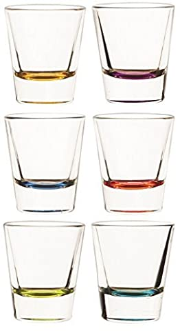 Circleware Glass Shot Glass Set, 1.5 Ounce, Set of 6, Hot Multi-Colored Bottoms by Circleware