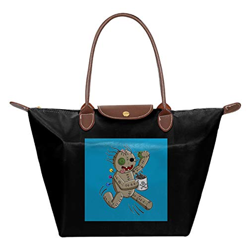 UGHUIHG Laufende Voodoo Puppe mit Kaffee, wasserdichtes Leder, gefaltet, Nylon, Reisetasche, faltbar, für Schule