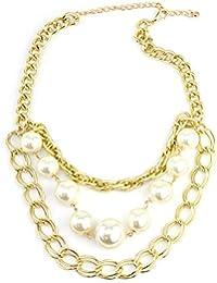 Superbe collier couleur or à pendentif composé de chaînes pendantes et de fausses perles INC3031G