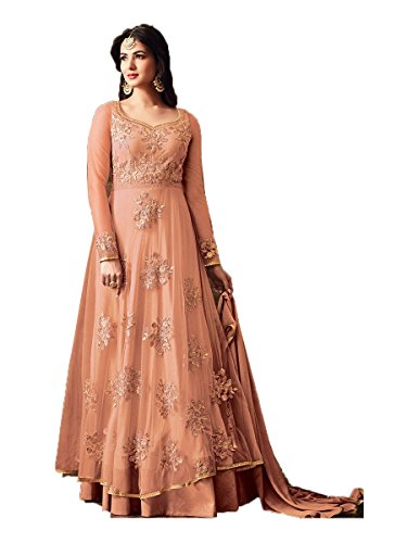 Sasimo Women's Embroidered Semi-Stitched Salwar Suit (Peach)
