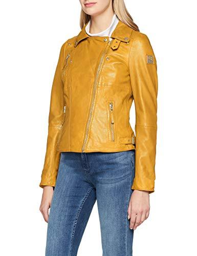 Chaqueta amarilla de cuero auténtico para mujer