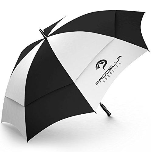 Frauen Golf-taschen Für (Procella Golf Regenschirm Herren und Frauen, 157cm Groß XXL Partnerschirm, Sturmfest & Windfest Stockschirm, Automatik Regen- und Windbeständig Golfschirme (Schwarz und Weiss))