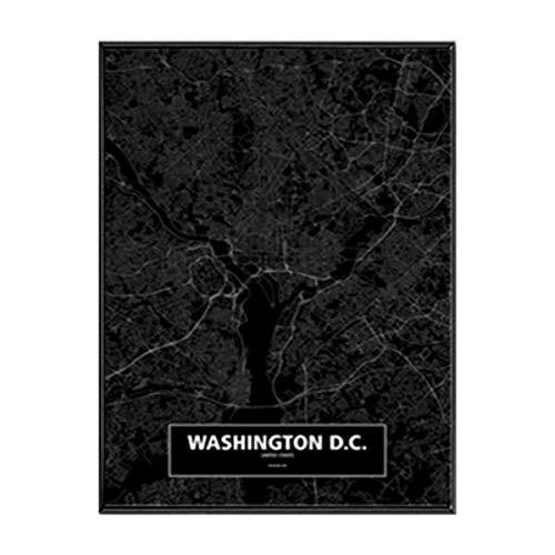 NBHHDH Bilder Auf Leinwand Moderne Schwarzweiss-Washionton Dc-Stadtkarten-Reise-Kontur-Karten-Bilder-Leinwand-Malerei-Plakat-Druck-Wand-Kunst-Ausgangsdekoration, 40 × 50Cm Kein Rahmen -