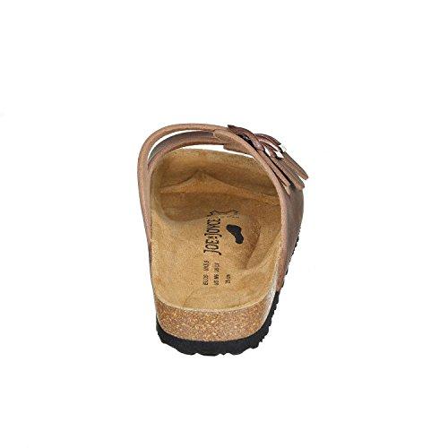 JOE n JOYCE Paris Synsoft Unisex Sandalen schmale Pantoletten mit 3 Riemen Brown