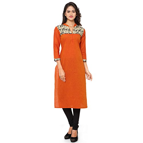 KVSFAB Women's straight cut kurti(Cotton_orange colour_KVSKR03FUSION)[KVSKR03FUSION_XL]