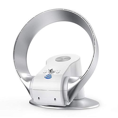 U ULTTY Tischventilator leise mit Fernbedienung oszillierend Wandventilator tragbar 360°rotorloser Ventilator mit Sleep-Timer Funktion 26w
