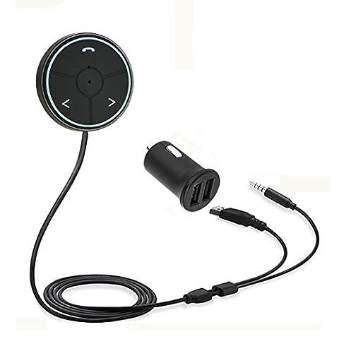 bluetooth car kit lanau ® bluetooth 4.1 hands - free auto musik empfänger für autos mit 3,5mm aux input - wlan an musik für magnetische reittiere (btc01f schwarz)