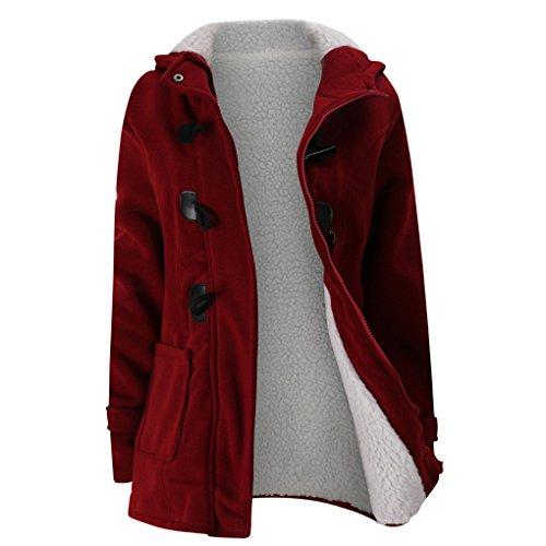 JMFrauen halten warme Windjacke Outwear warme Wolle schlanke lange Mantel Jacke Graben (M, Rot) (Schlanke Frau Kostüm)