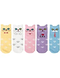 Maiwa algodón Novedad Gatos animales ninguna costura Calcetines 5 Pack para Niñas