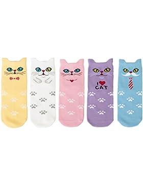 Maiwa Cotone Novità Gatti animali No Seam Calze 5 pacchetti per ragazze Bambini